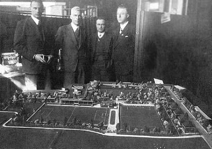 De maquette van het nieuwe terrein van Quick (rond 1934)